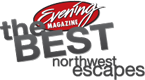 Grey and White Northwest Escapes logo.