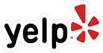 Black, and Red Yelp logo.