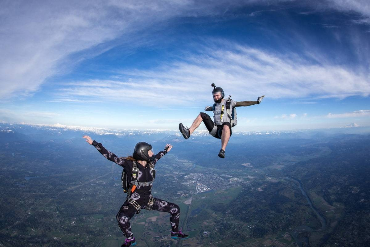 Two experienced skydivers in free fall with a clear view of the earth below them.