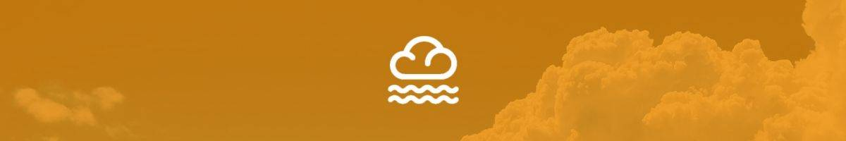Orange banner with white cloud