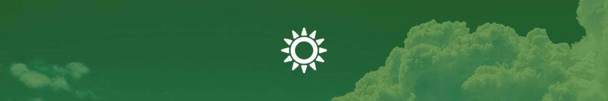 Green banner with white sun