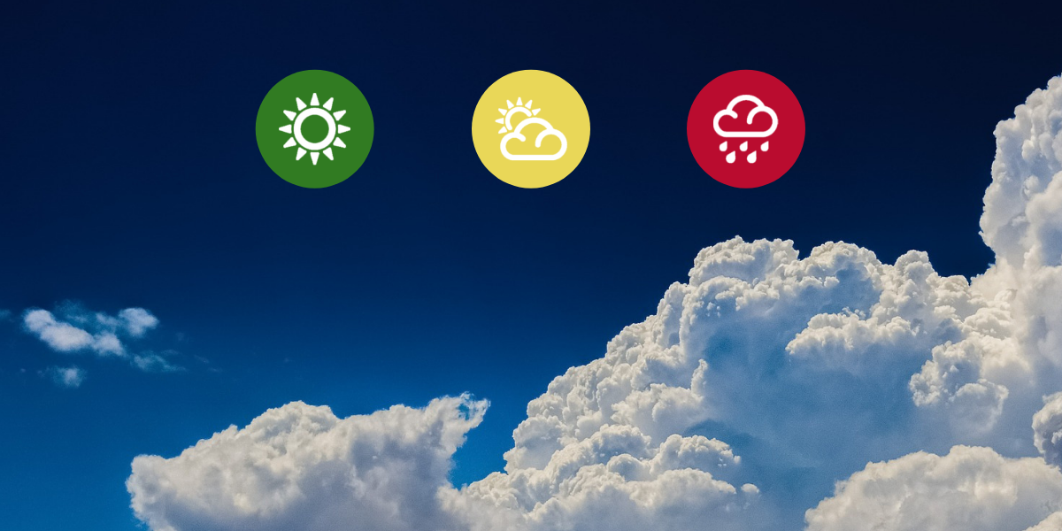 clouds with various weather icons of green, yellow and red